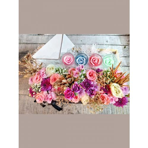 Fresh flower Crate with candles