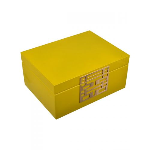 Laquered wooden box with gold accents