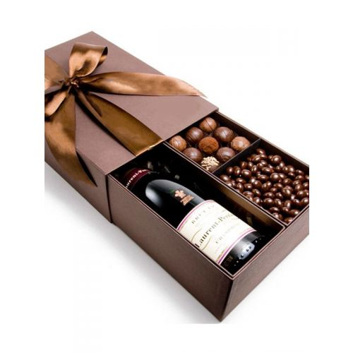 Wine + Chocolate Luxury Gift Box [ wine of your choice billed separately ]
