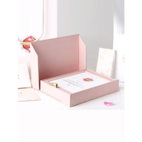 PINK RIGID BOX INVITE WITH DRY FRUITS