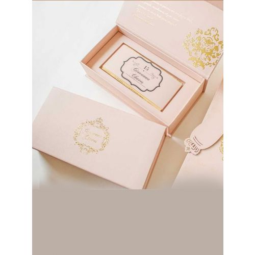 PINK WEDDING INVITE WITH CUSTOM GOLD PLATED SIGNATURE