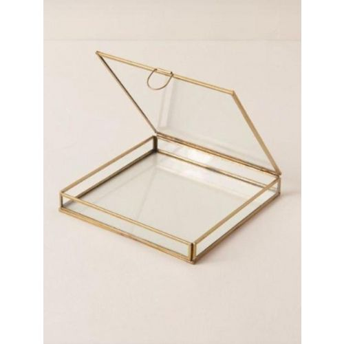 Glass box with metal frame with plating