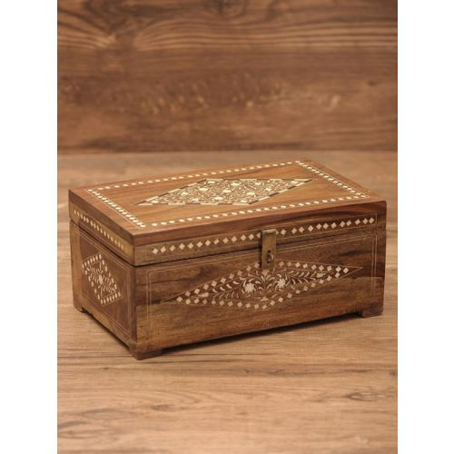 Wooden bone inlay box with antique finish 8.5in x 4.2in x 11in