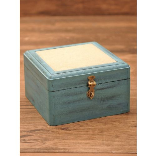 Wooden hand painted box 9.5in x 8.5in x 5in