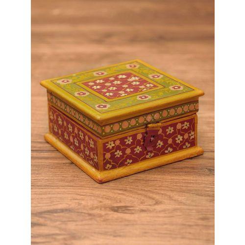Wooden hand painted box with antique finish 5.5in x 5.5in x 3in