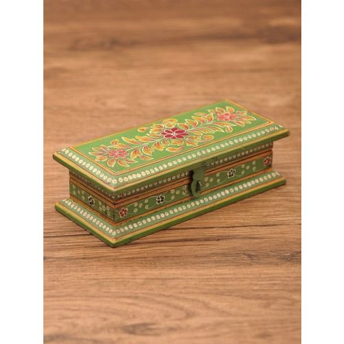 Wooden hand painted box with antique finish 7.2in x 3.5in x 2.3in